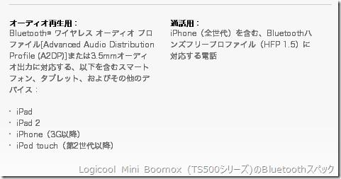 Logicool Mini Boomox (TS500シリーズ)のBluetoothスペック